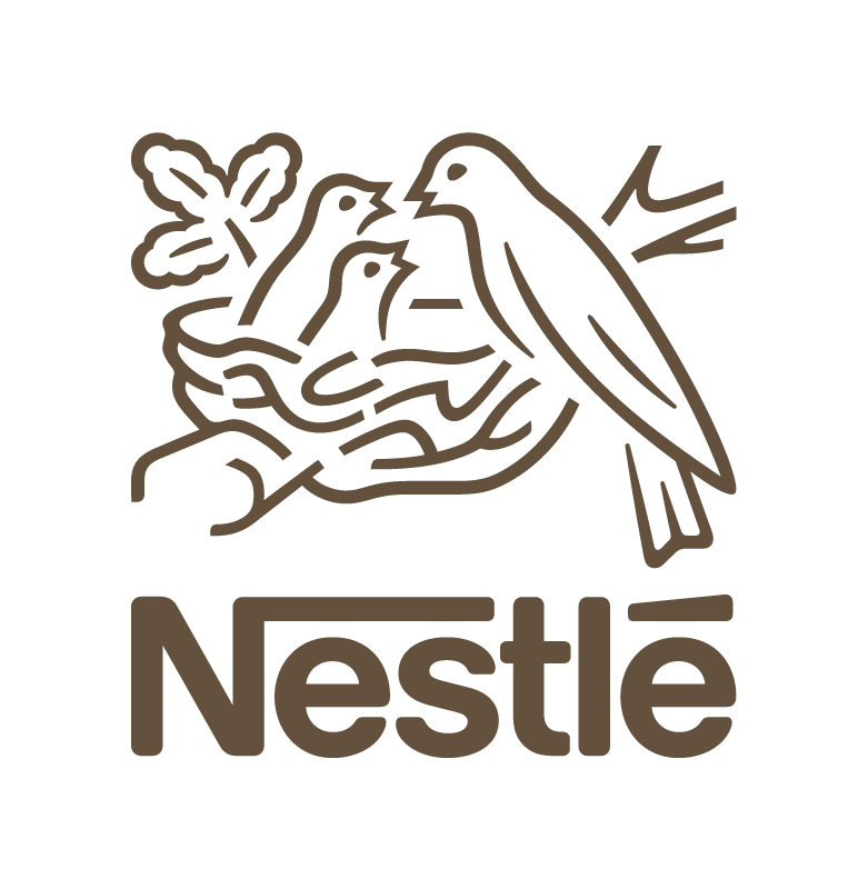 The logo of Nestle, featuring two small birds being fed by their mother